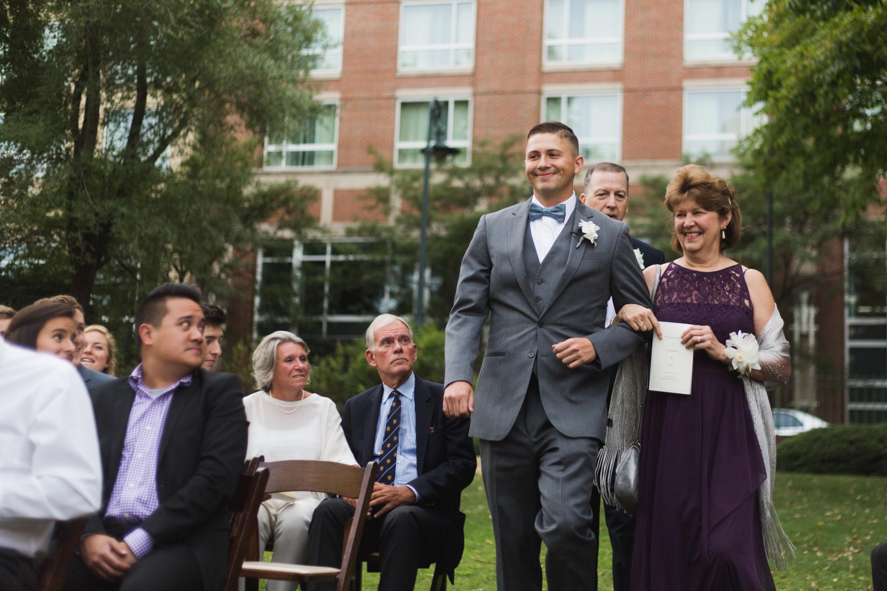 groom walking down aisle at hotel marlowe