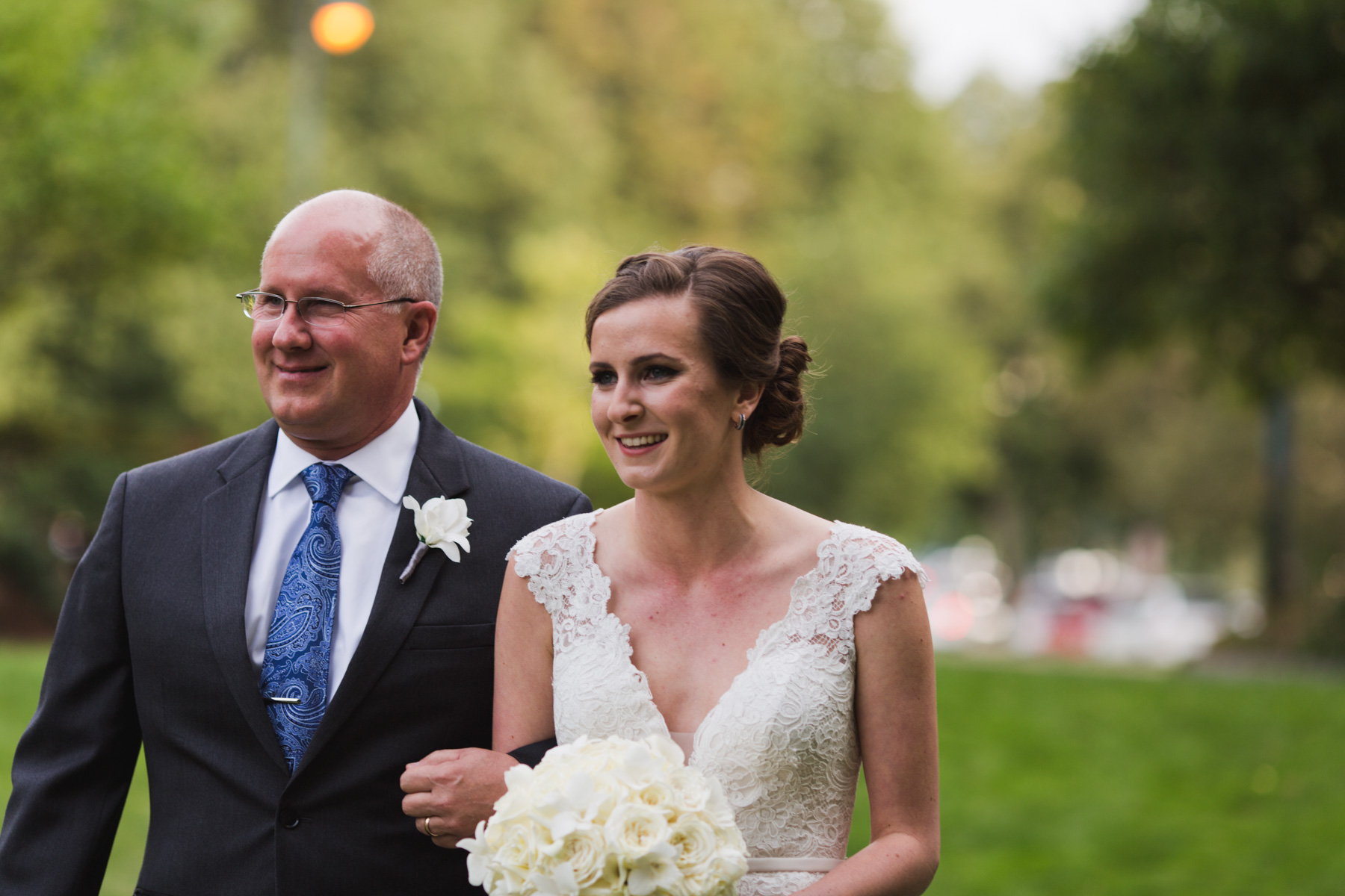 father walking with bride
