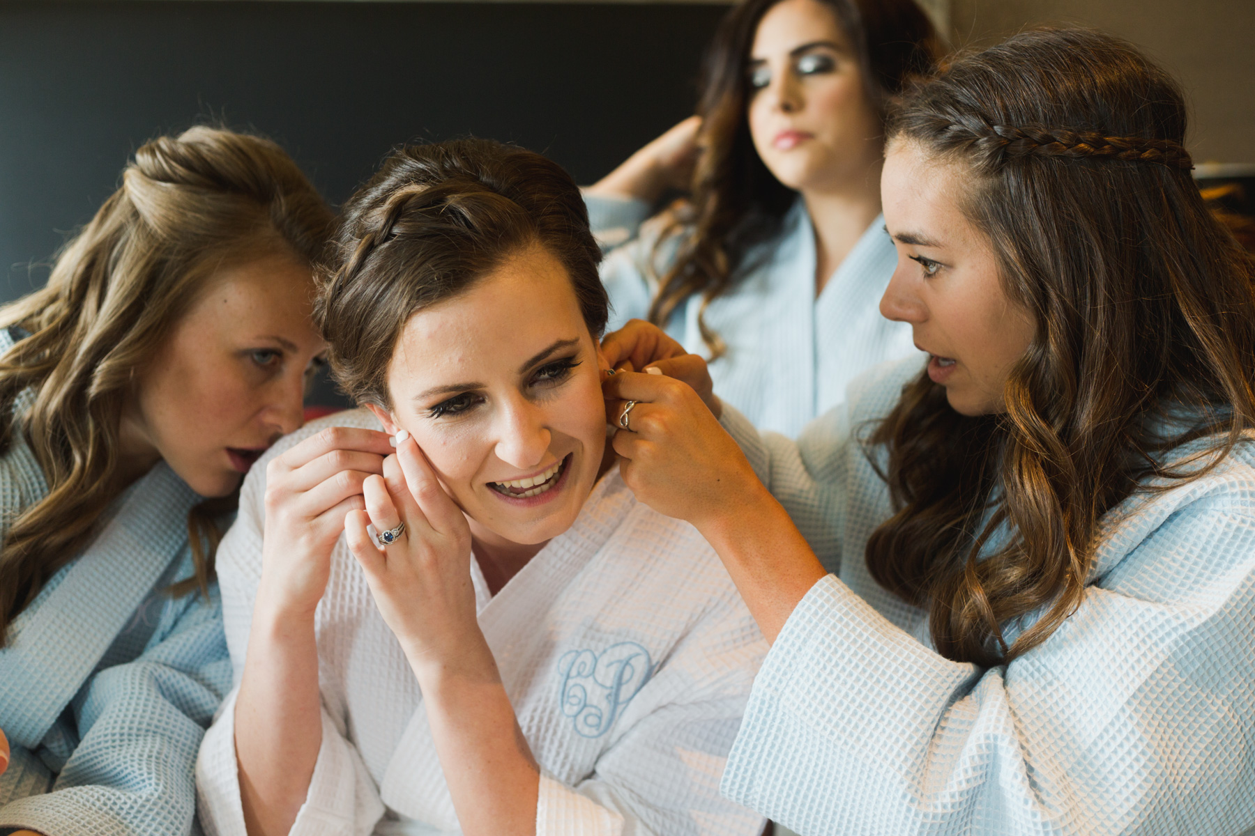 boston girls getting ready for wedding