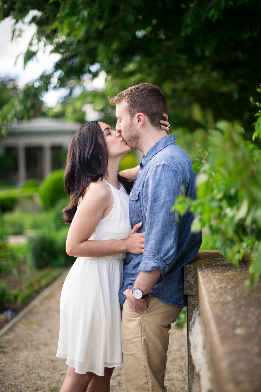 harkness park engagement kiss