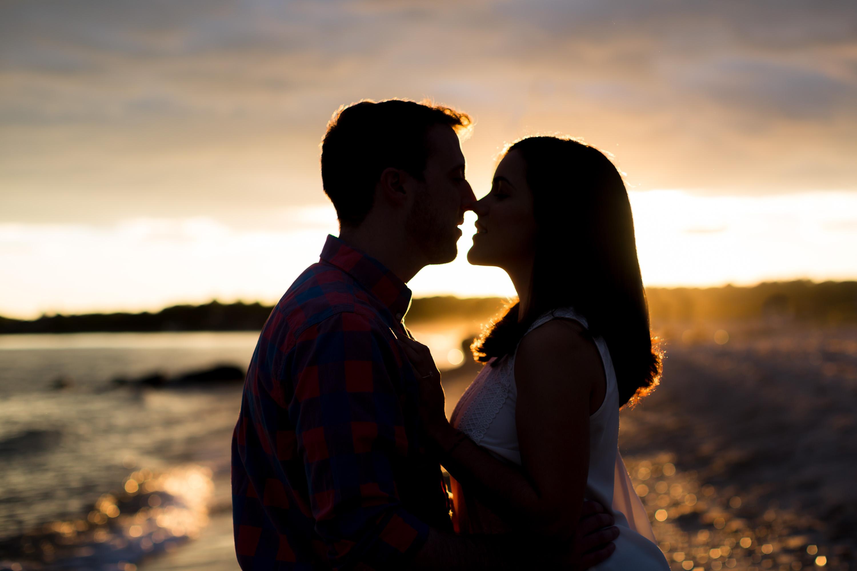 harkness beach romantic silhouette kiss
