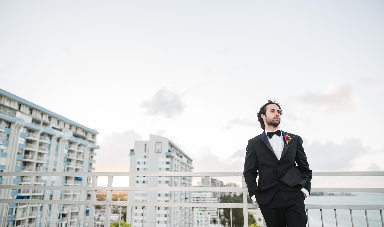 puerto rico rooftop groom portrait