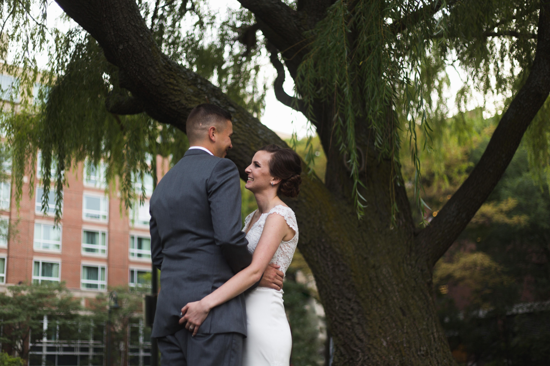 bride grabs grooms butt