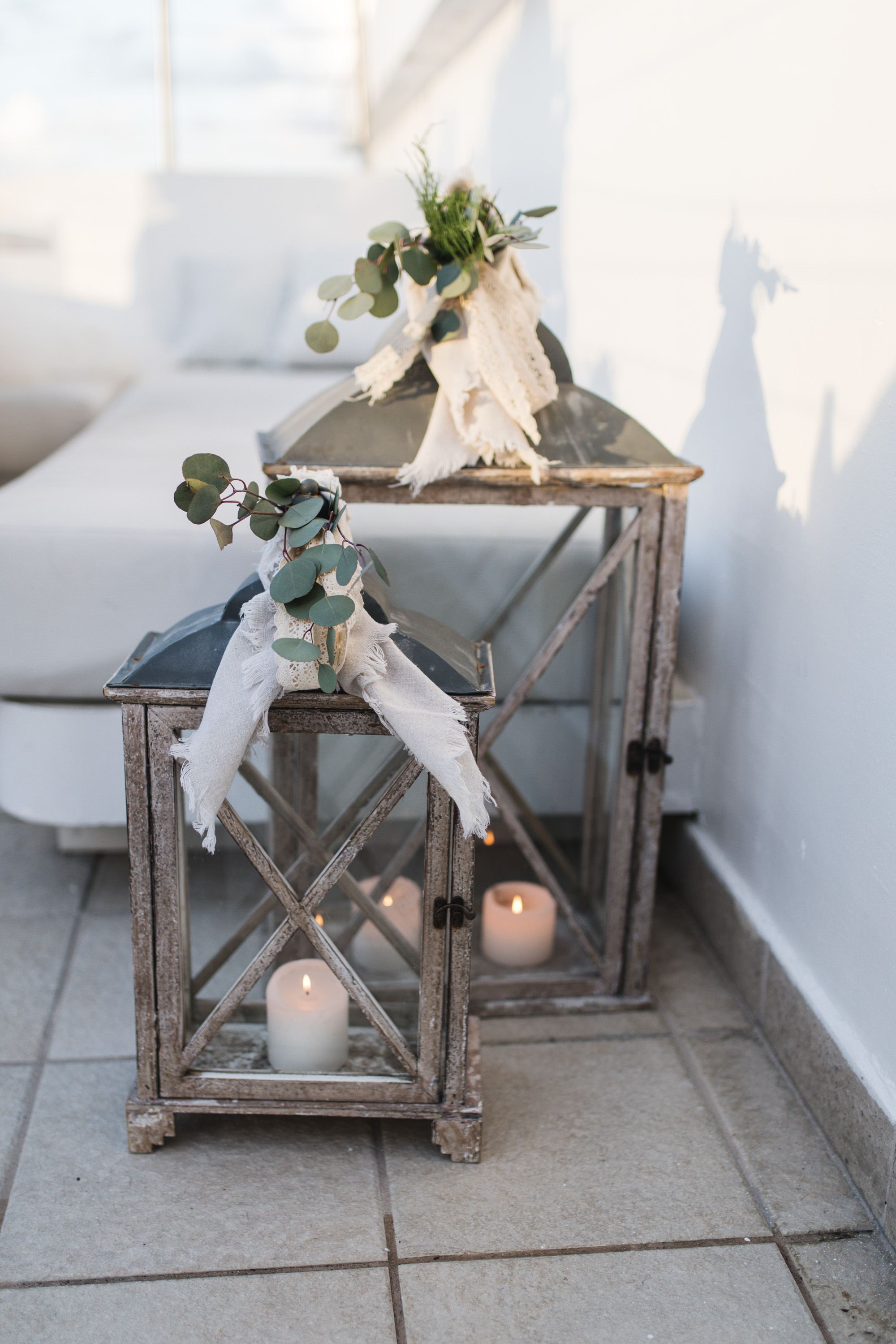 cute wedding candle holders rustic and greenery