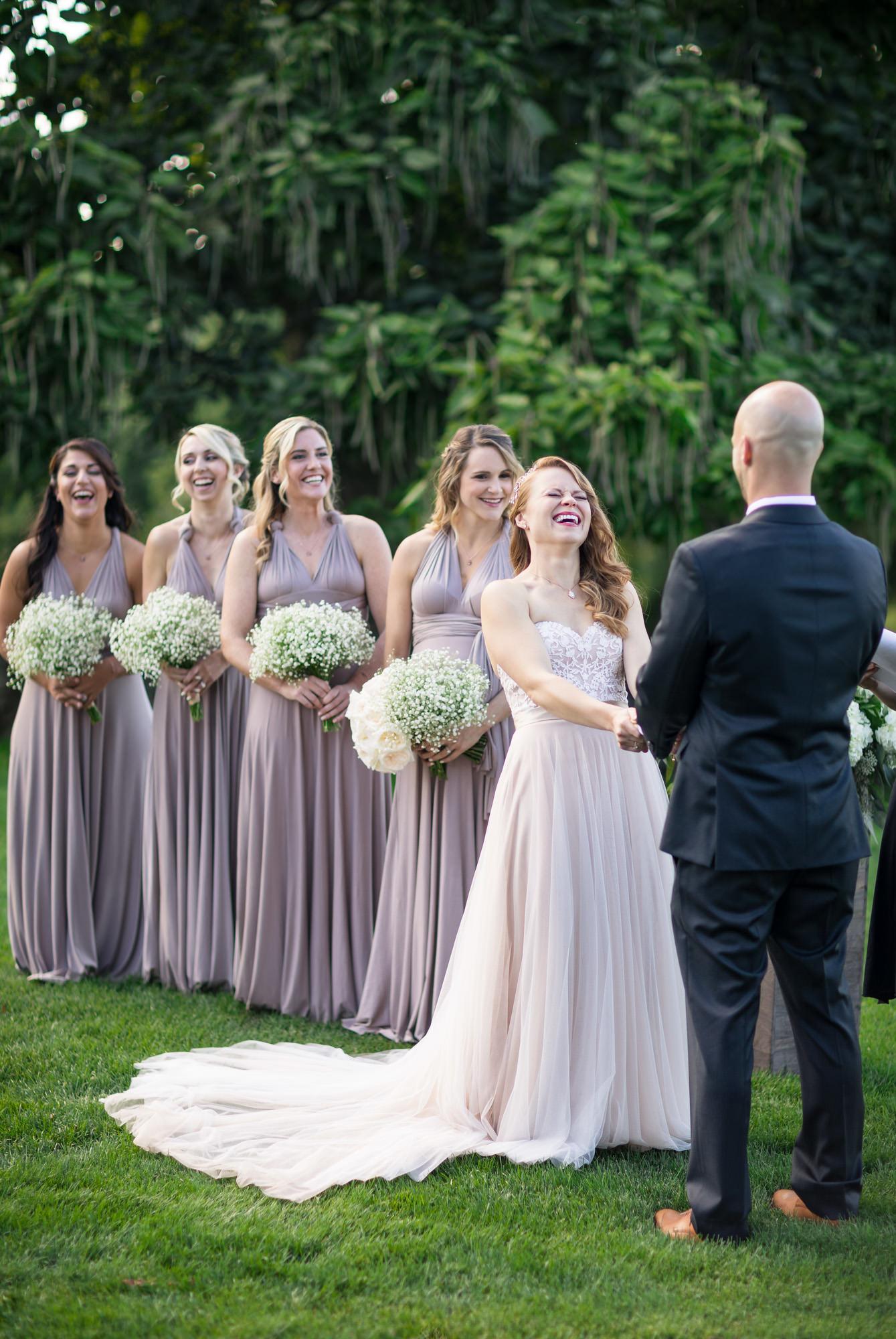 bride laughing hillstead museum wedding