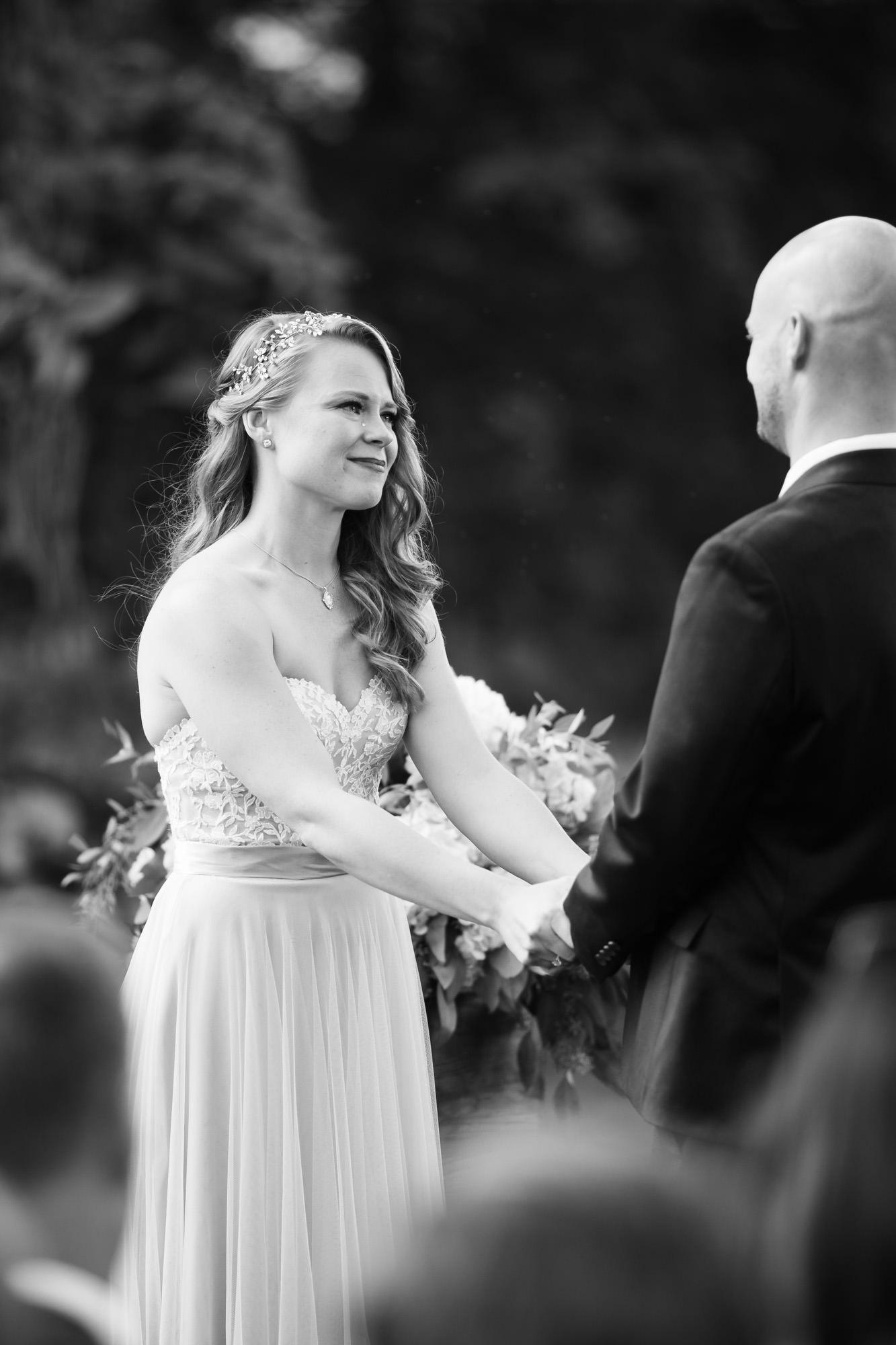bride with tear hillstead wedding