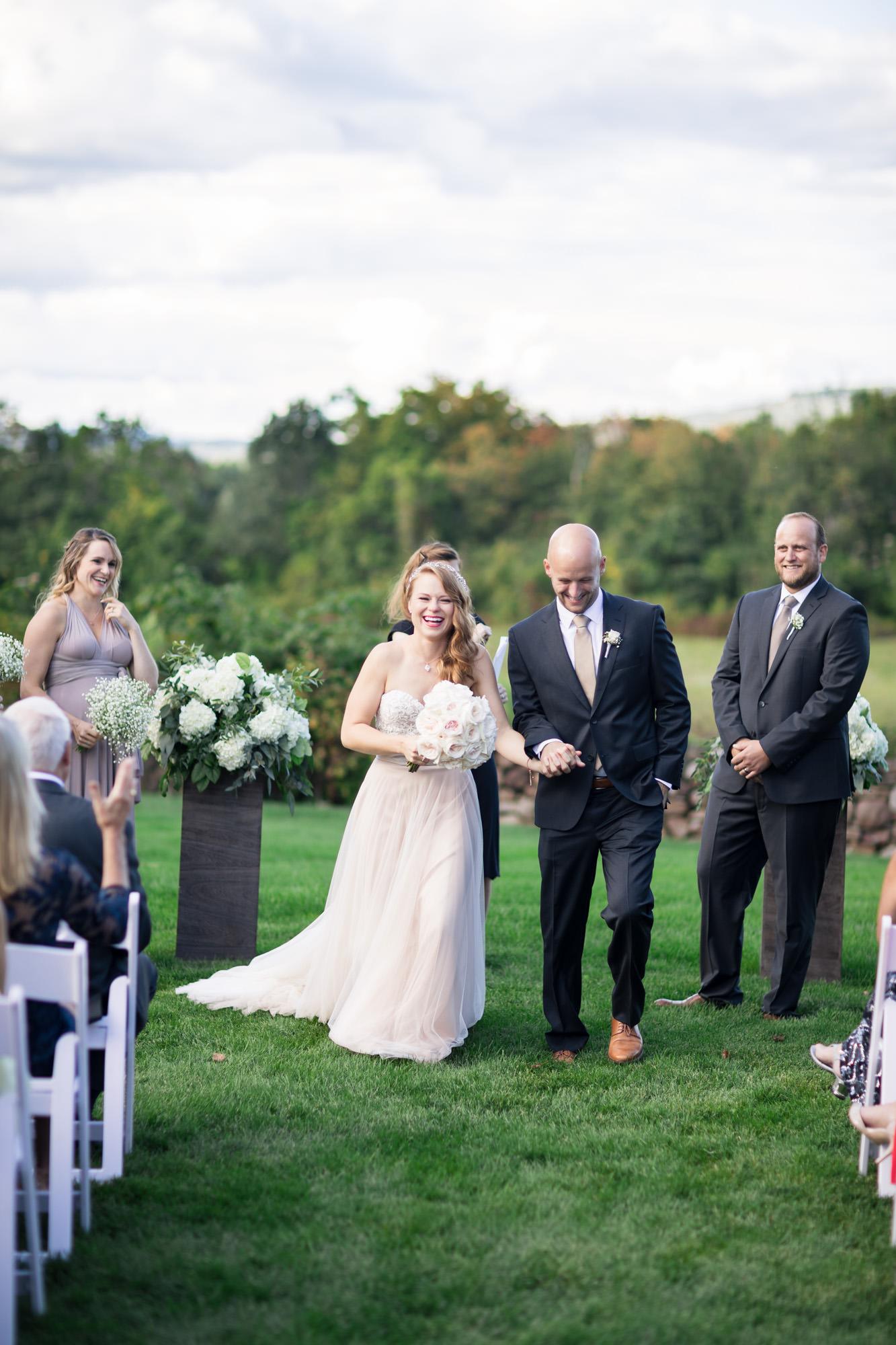bride and groom walking ceremony